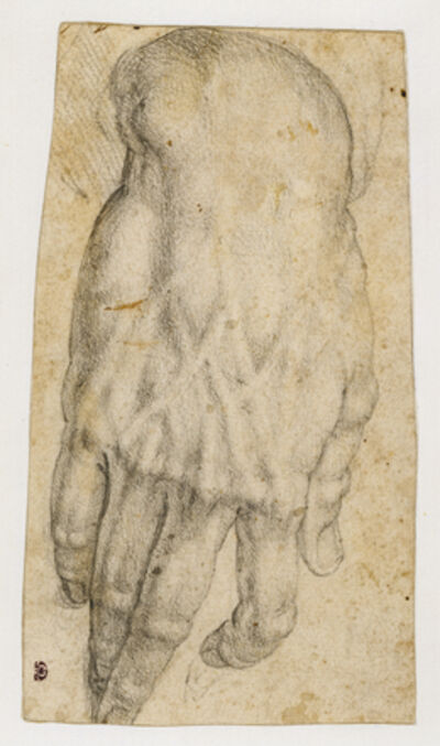 Agnolo Bronzino, 'Study of a man's right hand (recto), Studies of four heads and of a nude figure seen from the rear (verso)', 1545-1552