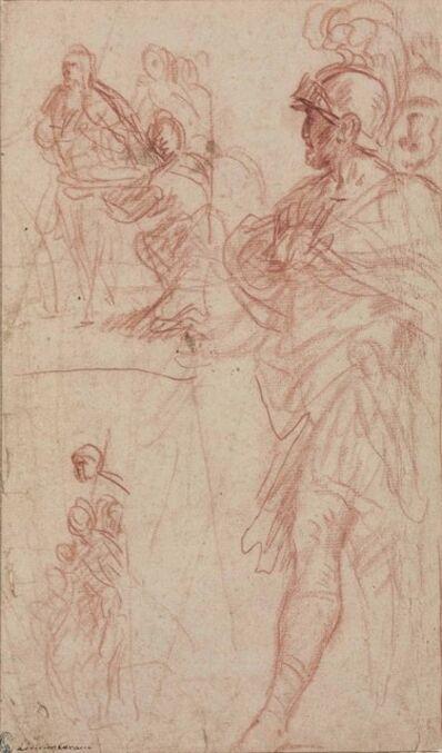Pietro Berrettini, called Pietro da Cortona, 'Study of a Roman general with two subsidiary compositional studies'