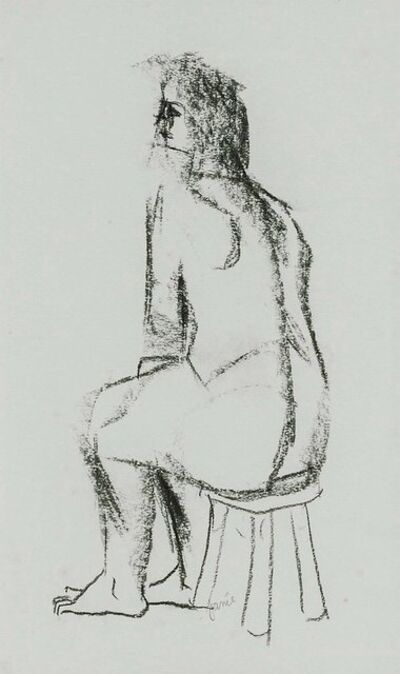 Jamie Marin-Price, 'Figure Study of a Nude Woman Sitting on Stool Charcoal Drawing', Late 20th Century