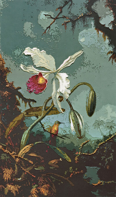 Vik Muniz, 'White Brazilian Orchid, after Martin Johnson Heade', 2010