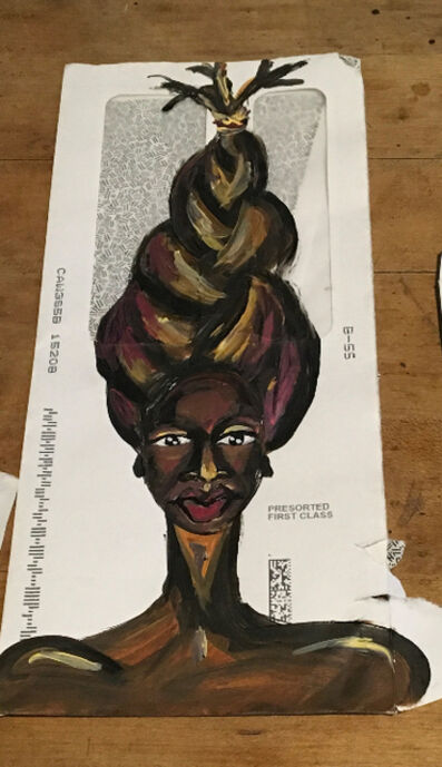 Vanessa German, 'envelope painting #74: everywhere i look i see g-d & she is in my eyes', 2018