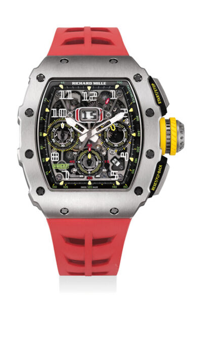 Richard Mille, 'A very attractive and rare titanium skelentonised tonneau-shaped flyback chronograph wristwatch with original certificate and box', Circa 2017