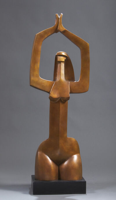 "Wayne Salge, '""Isabella"" modern bronze sculpture of a woman kneeling in yoga pose', 2000-2019"