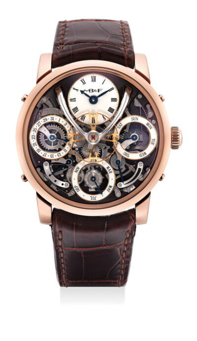 MB & F, 'An exceptional and very rare limited edition pink gold semi-skeleontized perpetual calendar wristwatch with white enamel subsidiary dials, flying balance wheel, power reserve and leap year indication, warranty and box, numbered 25 of a limited edition of 25 pieces', 2016