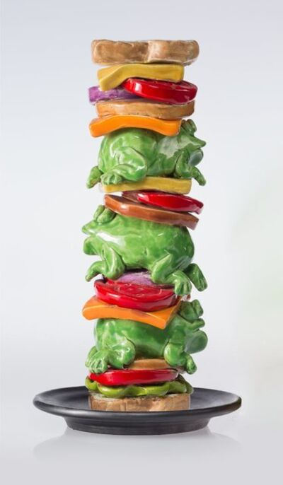 David Gilhooly, 'Frog Sandwich Totem Pole and Plate', 1984