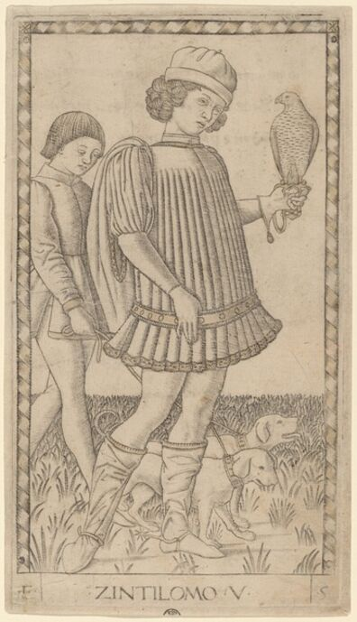Master of the E-Series Tarocchi, 'Zintilomo (Gentleman)', ca. 1465