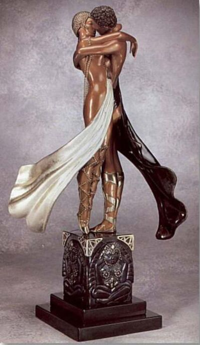 Erté (Romain de Tirtoff), 'Lovers and Idol', 1990