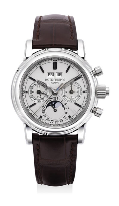 Patek Philippe, 'An extremely rare and fine stainless steel perpetual calendar split seconds chronograph wristwatch with moon phases, 24 hours, leap year indicator, original certificate, additional case back and box', Circa 2013