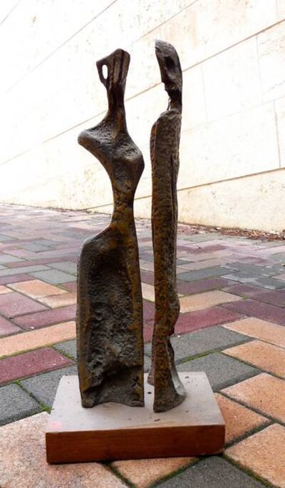 Aharon Bezalel, 'Two Figures (Art Brut Bronze Sculpture)', 1960-1969