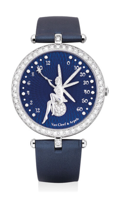 Van Cleef and Arpels, 'A very fine and elegant lady's white gold and diamond-set bi-retrograde wristwatch with blue guilloché enamel dial, numbered 107', Circa 2014