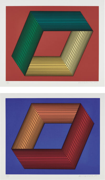 Richard Anuszkiewicz, 'Study Inner Yellow on Red (Print Collage 1); and Study Inner Orange on Blue (Print Collage 1)', 1991