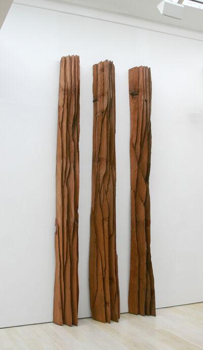 David Nash, 'Three Red Columns: Deepcut', 2010