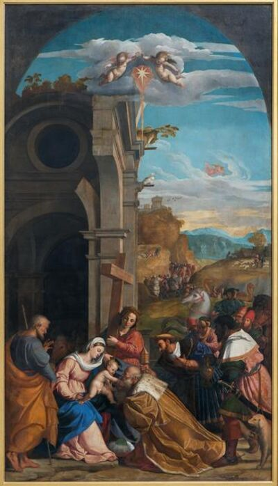Jacopo Palma il Vecchio, 'Adoration of the Magi in the Presence of Saint Helen', 1525-1526