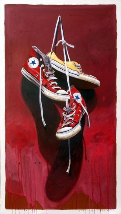 "Santiago Garcia, '""#533"" Red and Yellow Converse sneakers with vibrant red Background', 2010-2018"