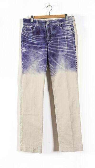"Ben Garthus, '""Ballpoint pen drawing of my favorite pair of jeans on my least favorite pair of khakis"". 2014 $7,000'"