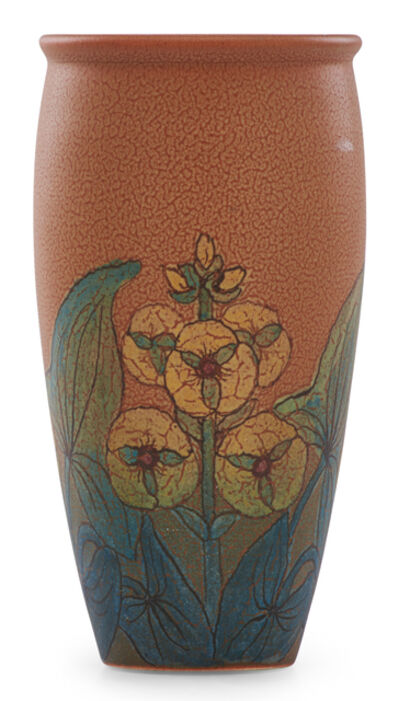 Rookwood Pottery, 'Double Vellum/Decorated Mat vase with stylized flowers (uncrazed)', 1925