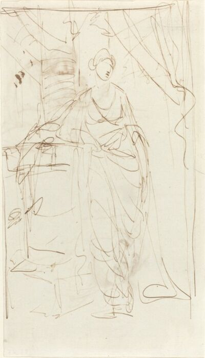 George Romney, 'An Elegant Lady in Classical Dress [recto]', 1780s