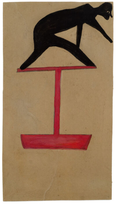 Bill Traylor, 'Untitled (Black Figure Leaning on Red Construction)', 1939-1942