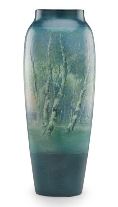Ed Diers, 'Tall banded Scenic Vellum vase, Cincinnati, OH', 1919