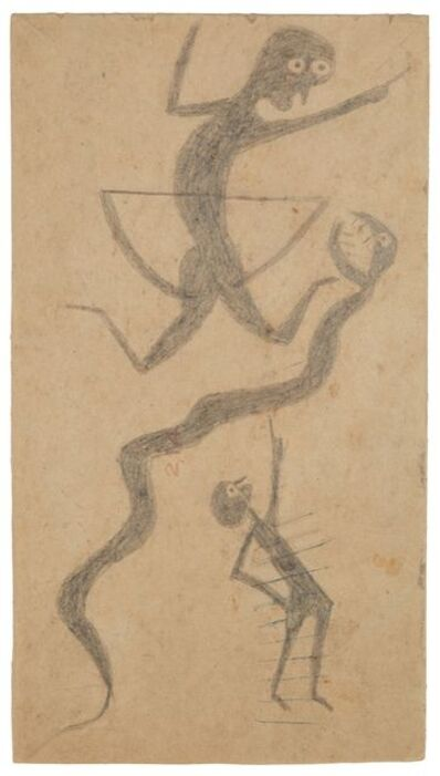Bill Traylor, 'Snake and Two Men', 1939-1942