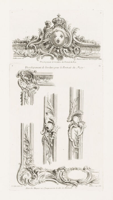 Juste-Aurèle Meissonnier, 'Design of Cartouche with the Arms of the King Centered in a Border', 1748