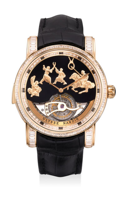 Ulysse Nardin, 'An extremely fine and very rare limited edition pink gold and baguette diamond-set Westminister minute repeating wristwatch with carillon tourbillon, Jaquemarts, Certificate and box, numbered 10 of a limited edition of 30 pieces', Circa 2018