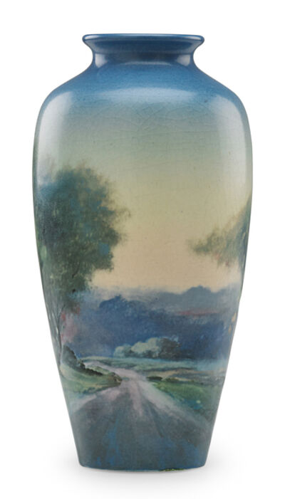 Fred Rothenbusch, 'Small Scenic Vellum vase with road and forest, Cincinnati, OH', 1922