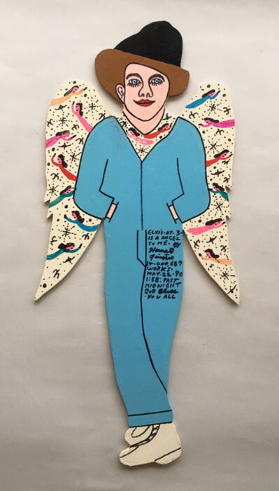 "Howard Finster, 'Elvis at 3 Angel (with Angels on Wings) 24"" h x 11"" w', 1990"