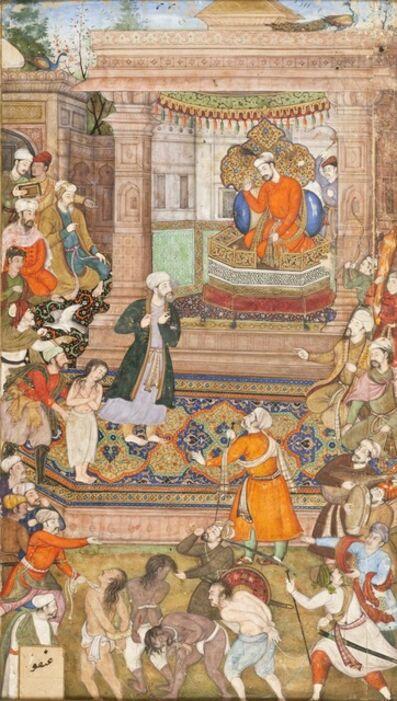 Basawan, 'A Court Scene, Folio from a Manuscript of Sadi's Gulistan (Rose Garden) ', 1596