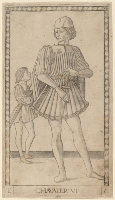 Master of the E-Series Tarocchi, 'Chavalier (Knight)', ca. 1465