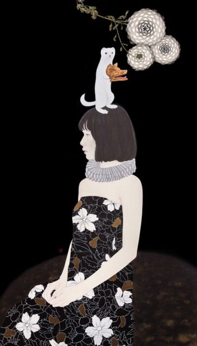 I-Sheng KAO, '貂與白菊 Marten and white chrysanthemum', 2020
