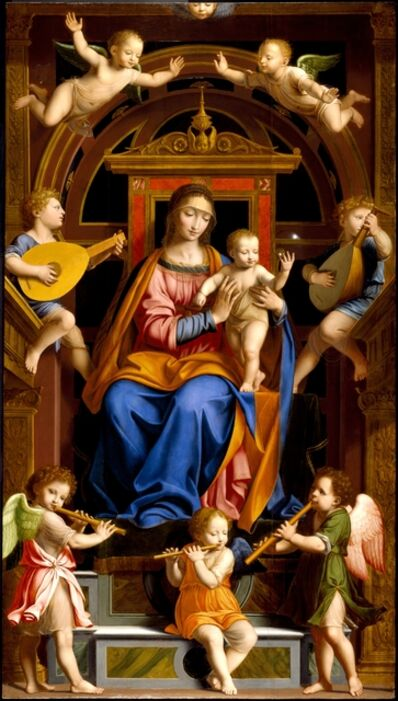 Workshop of Bernardino Luini, 'Madonna and Child Enthroned with Angels', mid-16th century