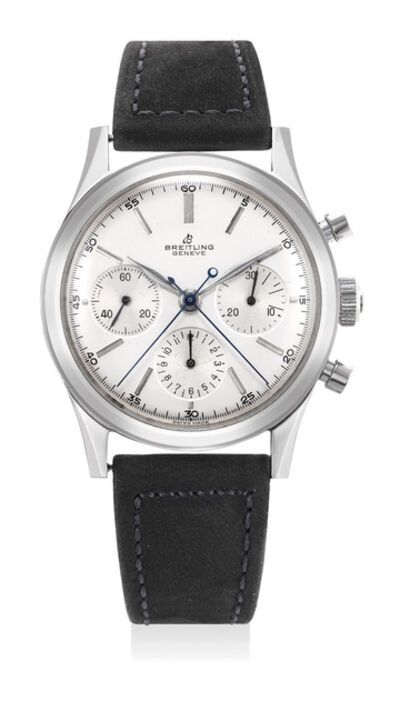 Breitling, 'A fine and very rare stainless steel anti-magnetic split seconds chronograph wristwatch with silvered dial', Circa 1950s
