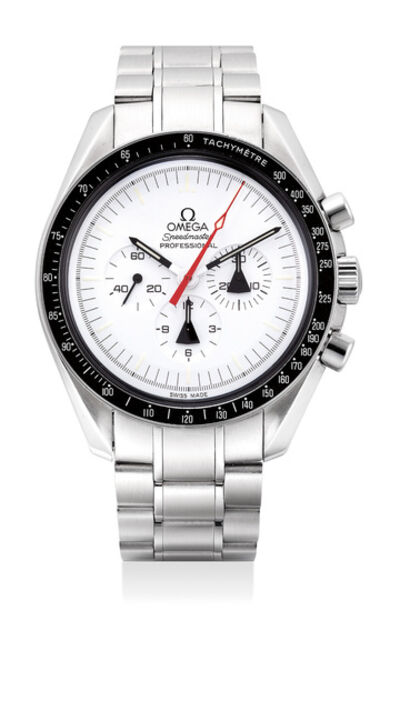 OMEGA, 'An extremely well-preserved and rare stainless steel chronograph wristwatch with white dial, outer protective case, warranty and box, numbered 0544 of a limited edition of 1970 pieces', 2010