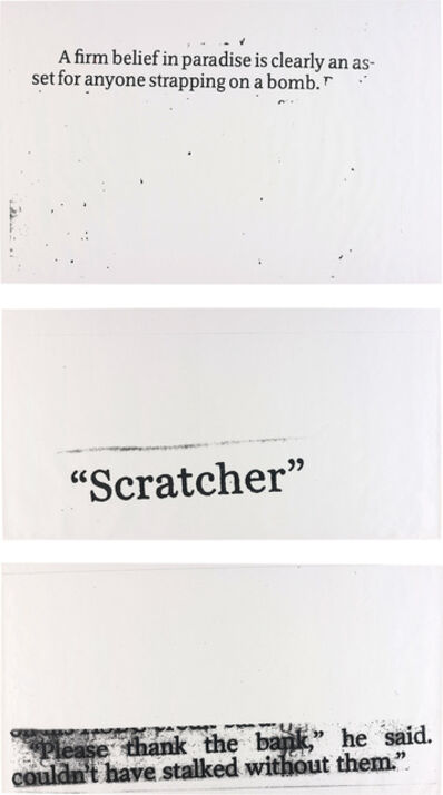 Nate Lowman, 'Three Works: i) Scratcher; ii) Strapping on; iii) Thank the Bank', 2004
