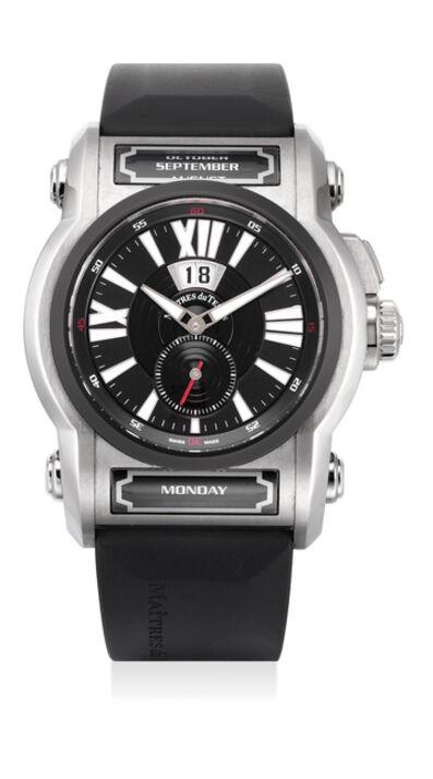 MDT, 'A fine titanium instantaneous triple calendar tonneau-shaped wristwatch with presentation box', Circa 2003