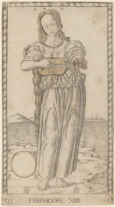 Master of the E-Series Tarocchi, 'Terpsicore (Terpsichore)', ca. 1465