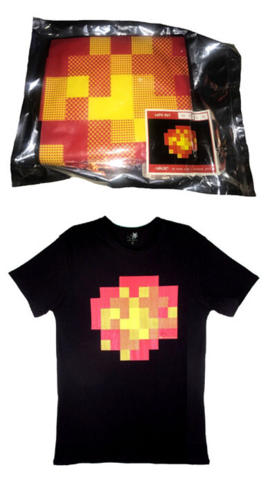 """Invader, '""""WIPE OUT IN HONG KONG """" (explosion), Exhibition T-Shirt Edition, Vacuum Sealed Space Bag, Silkscreen.', 2015"""