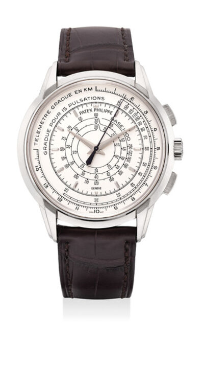Patek Philippe, 'A very fine and rare white gold chronograph wristwatch with multi-scale dial, Certificate, Attestation, medal and box. Part of a 400-pieces limited edition', Circa 2016