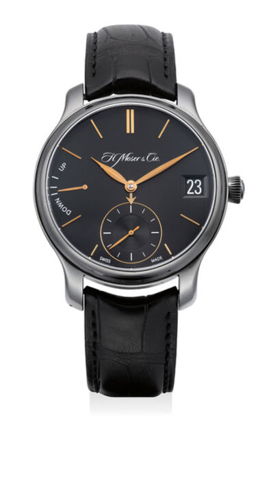 Moser & Cie, 'A fine and attractive DLC-coated titanium perpetual calendar wristwatch with date, power reserve indicator, certificate and box', Circa 2014