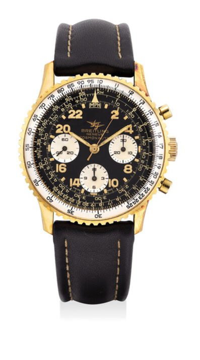 Breitling, 'A fine yellow gold-plated stainless steel chronograph wristwatch with black gilt dial, tachymeter scale and slide rule bezel', Circa 1970