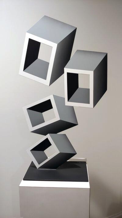 Daniel Sanseviero, '4 white Boxes illusion sculpture', 2019