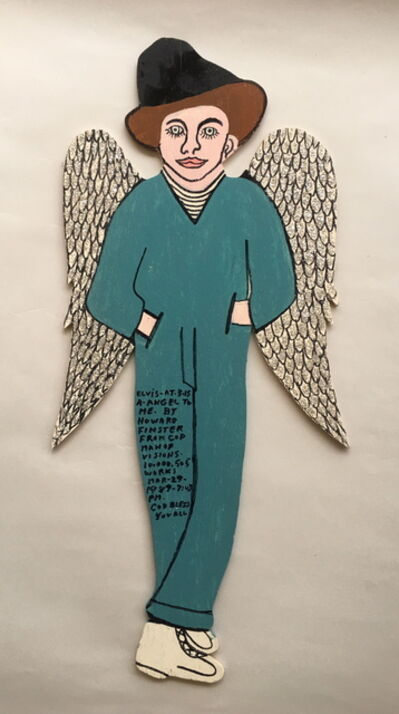 Howard Finster, 'Elvis at 3 - with glitter bird wings', 1989