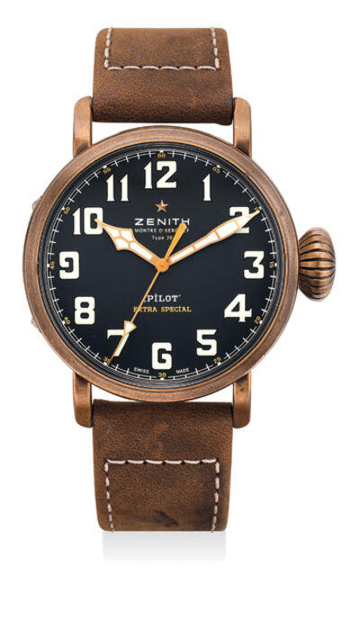 Zenith, 'A fine and attractive bronze wristwatch with sweep center seconds, international warranty and presentation box', Circa 2015