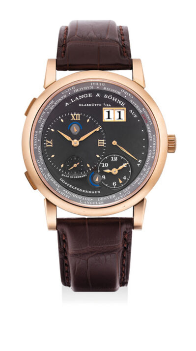 A. Lange & Söhne, 'A fine and rare pink gold dual and world-time wristwatch with date, power reserve, night/day indications and grey dial', Circa 2012