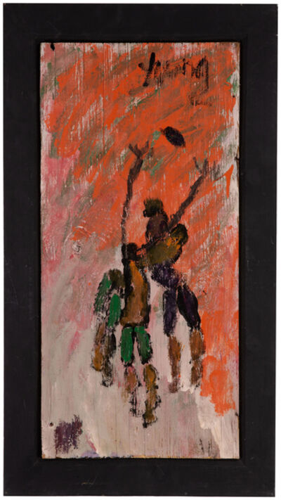 Purvis Young, 'Three figures playing ball'