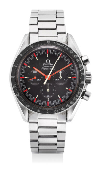 OMEGA, 'An extremely rare and attractive stainless steel chronograph wristwatch with racing dial, bracelet and guarantee', Circa 1968