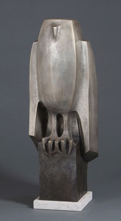 "Wayne Salge, '""Whoo"" modern bronze sculpture of an owl with silver patina', 2010-2019"
