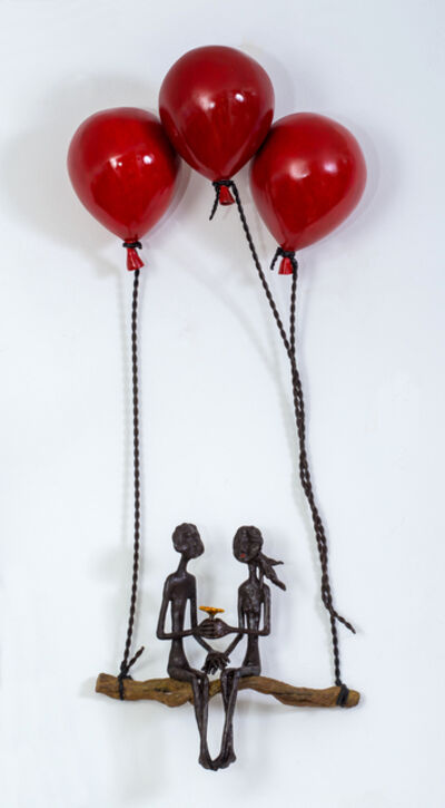 Ruth Bloch, 'Blossoming with 3 red balloons', 2020