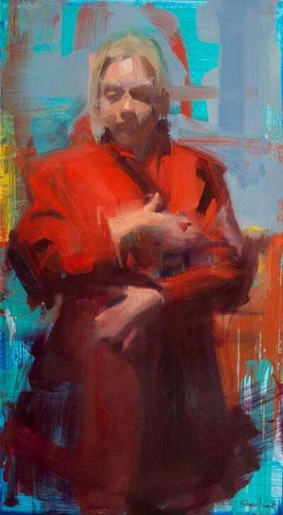 David Shevlino, 'Red Coat / figurative painting of a woman in red trench coat ', 2019